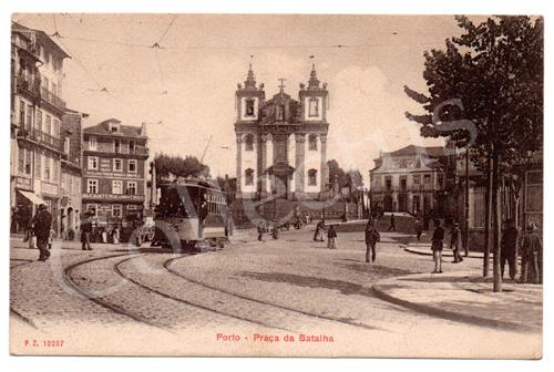 Postal antigo do Porto – Praça da Batalha. Edição P.Z.