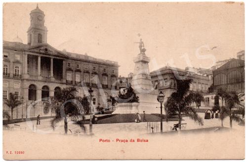 Postal antigo do Porto – Praça da Bolsa. Edição P.Z.