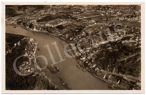 Postal antigo do Porto – Vista panorâmica da cidade tirada a bordo do «Graf Zeppelin»