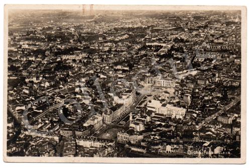 Postal antigo Porto visto d'avião (sobre a Praça da Liberdade)