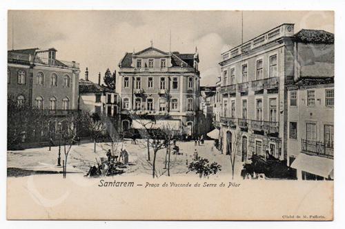 Postal antigo de Santarém - Praça do Visconde da Serra do Pilar