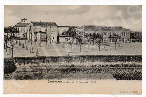 Postal antigo de Santarém - Quartel de Caçadores
