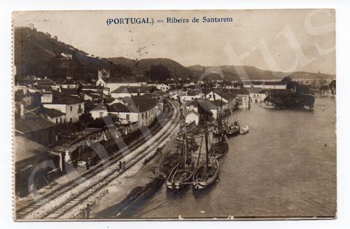 Postal antigo da Ribeira de Santarém