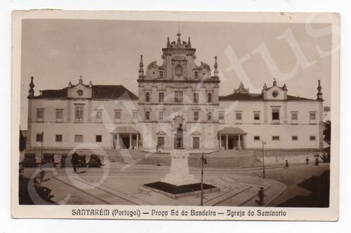 Postal antigo de Santarém -  Praça Sá da Bandeira - Igreja do Seminário
