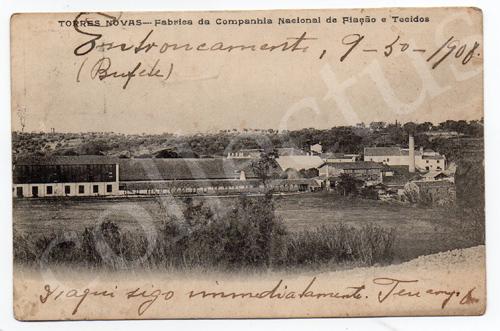 Postal antigo de Torres Novas - Fábrica da Companhia Nacional de Fiação e Tecidos