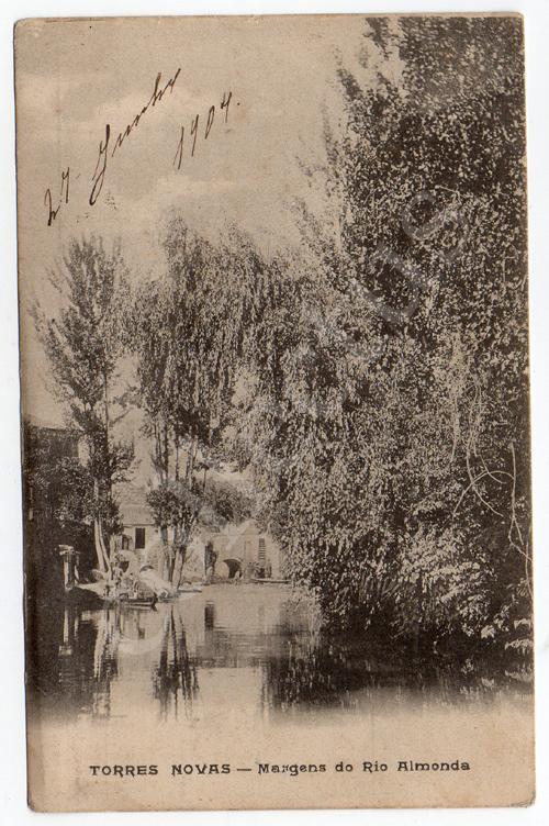 Postal antigo de Torres Novas - Margens do Rio Almonda