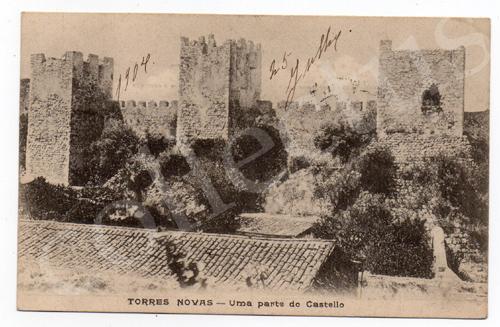 Postal antigo de Torres Novas - Uma parte do castelo