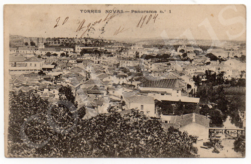 Postal antigo de Torres Novas - Panorama n.º 1