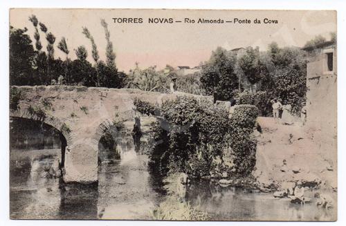 Postal antigo de Torres Novas - Rio Almonda - Ponte da Cova