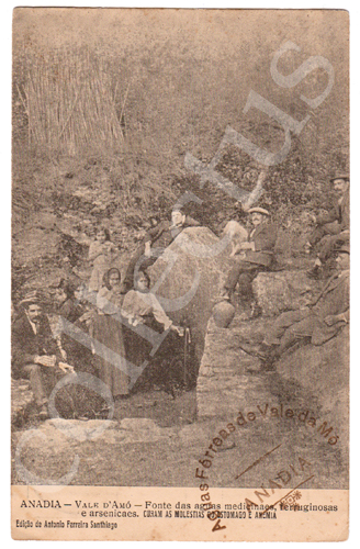 Postal antigo da Anadia - Vale d'Amó - Fonte das águas medicinais, ferruginosas e arsenicaes. Curam as moléstias do estômago e anemia