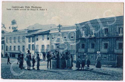 Postal antigo de Castelo de Vide Moderno. Fonte e vista parcial da Praça D.Pedro V