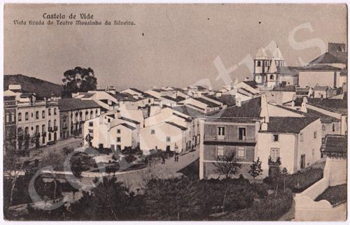 Postal antigo de Castelo de Vide. Vista tirada do Teatro Mousinho da Silveira