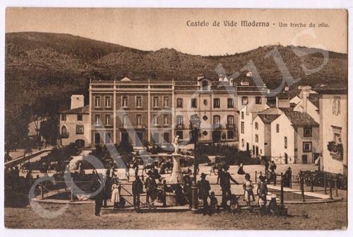 Postal antigo de Castelo de Vide Moderno. Um trecho da vila