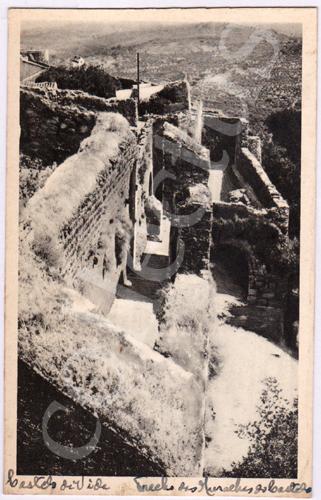 Postal antigo de Castelo de Vide. Trecho das Muralhas do Castelo