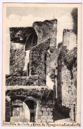 Postal antigo de Castelo de Vide - Torre de Menagem e entrada do Castelo