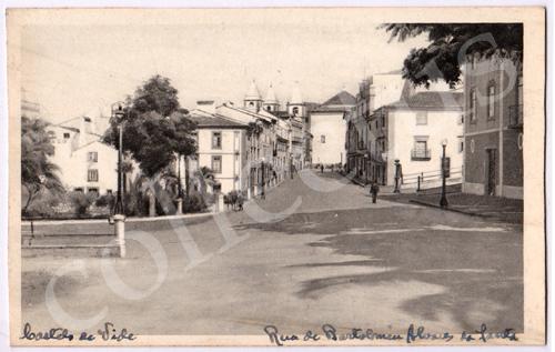 Postal antigo de Castelo de Vide. Rua de Bartolomeu Alvares da Santa