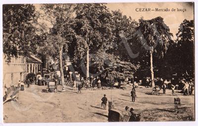 Postal antigo de Cesar - Mercado de louça