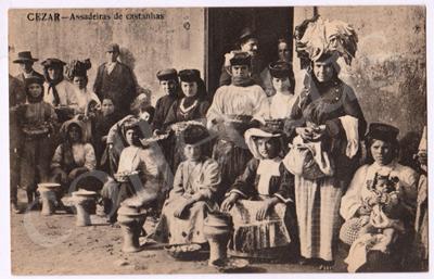 Postal antigo de Cesar - Assadeiras de castanhas
