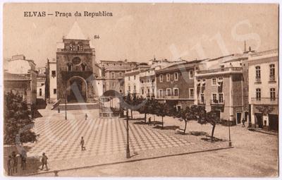 Postal antigo de Elvas - Praça da República