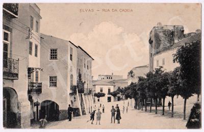 Postal antigo de Elvas - Rua da Cadeia
