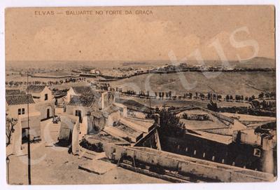 Postal antigo de Elvas - Baluarte no Forte da Graça
