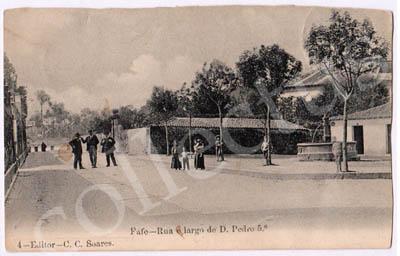 Postal antigo de Fafe - Rua e largo de D.Pedro 5.º