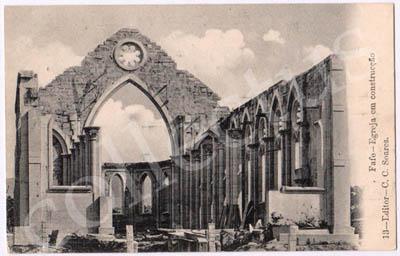 Postal antigo de Fafe - Igreja em construção