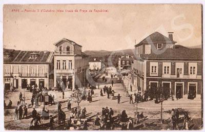 Postal antigo de Fafe - Avenida 5 de Outubro (vista tirada da Praça da Republica)