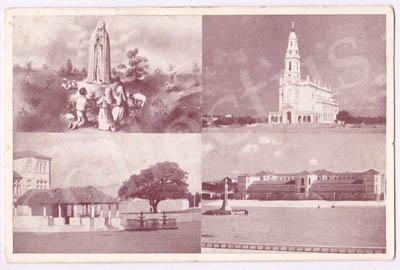Postal antigo de N.ª S.ª de Fátima e os Pastorinhos