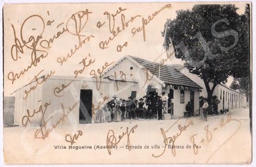 Postal antigo Vila Nogueira (Azeitão) - Entrada da vila - Barraca de Pau
