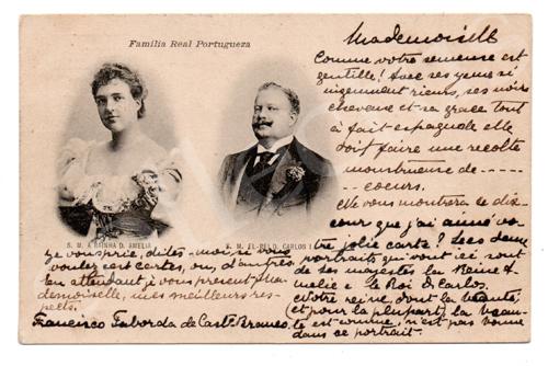 Postal antigo da Monarquia Portuguesa - D.Carlos e D.Amélia