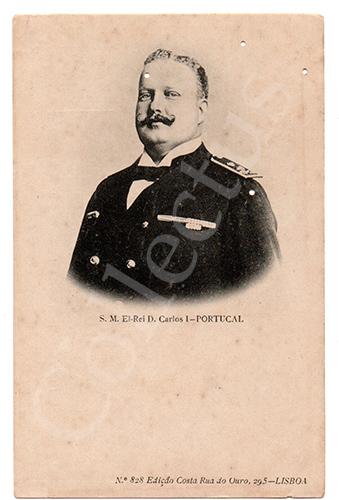 Postal antigo da Monarquia Portuguesa - D.Carlos