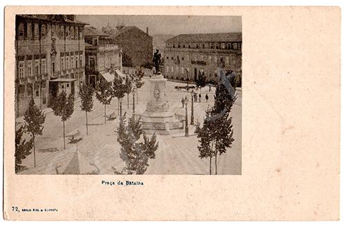 Postal antigo do Porto Praça Infante D. Henrique. Edição Emílio Biel