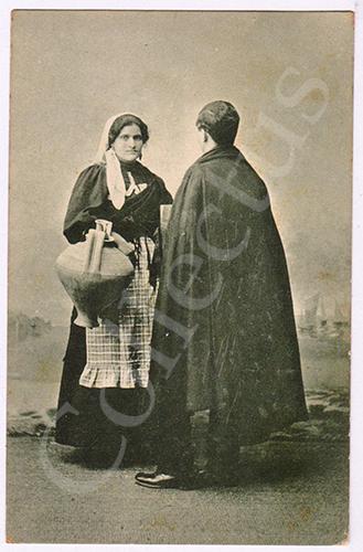 Postal antigo de costumes Coimbra