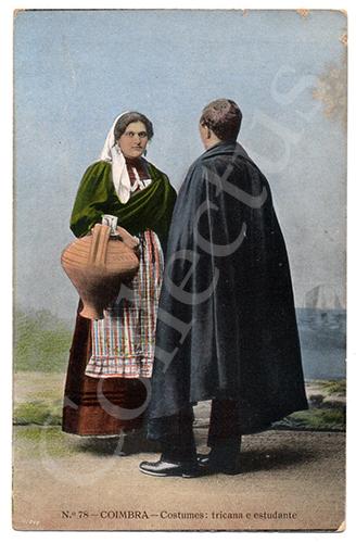 Postal antigo de costumes de Coimbra