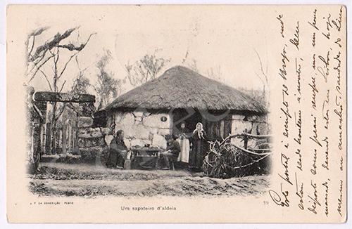 Postal antigo de um sapateiro