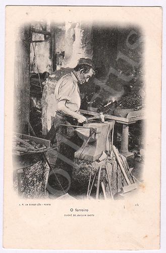Postal antigo de um ferreiro