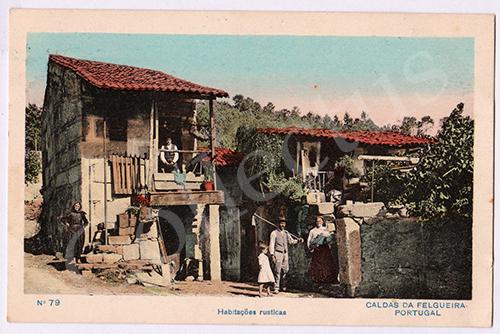 Postal antigo de costumes - Caldas da Felgueira
