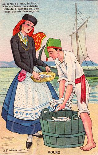 Postal antigo de costumes ilustrado por Elisa B. Felismino