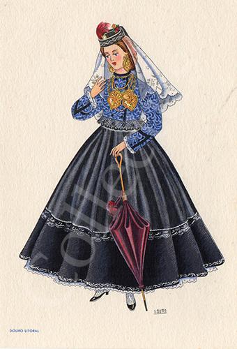 Postal antigo de Laura Costa - costumes portugueses